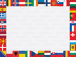 background with European countries flag icons frame