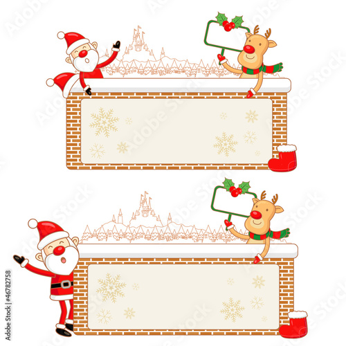 Santa Claus and Rudolph Mascot using a variety of banner designs