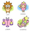 The front stand up  Leo and Virgo, Libra and Scorpio Mascot. The