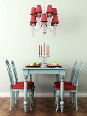 Laid table and lamp