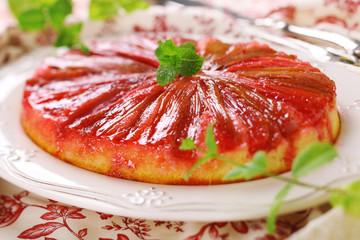 Beautiful rhubarb cake with syrup.