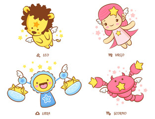 Flying Leo and Virgo, Libra and Scorpio Mascot. The West Twelve