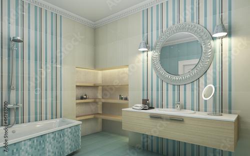 Bahtroom Blue Tile Round Mirror