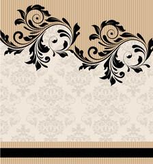Vintage damask background with black swirl