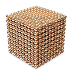 Abstract Cube made from Golden Spheres isolated on white