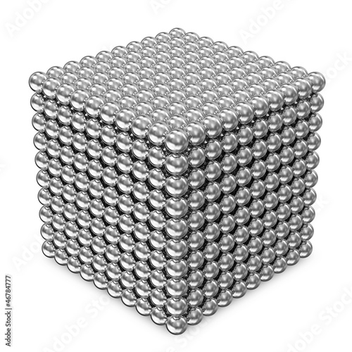 Abstract Cube made from Silver Spheres isolated on white
