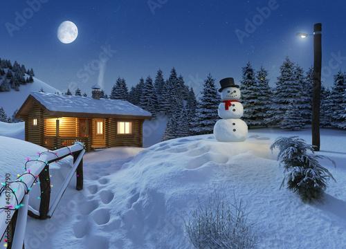 log house in a winter christmas scene