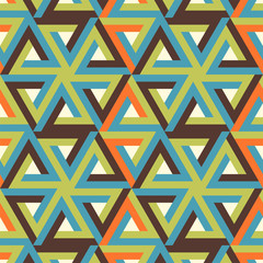 Abstract pattern with tricolor triangles over pearl white