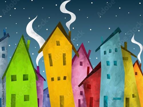 neve sulle case © goccedicolore
