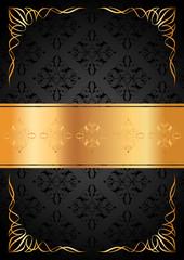 Siyah desenler ve altın yazı şeridi