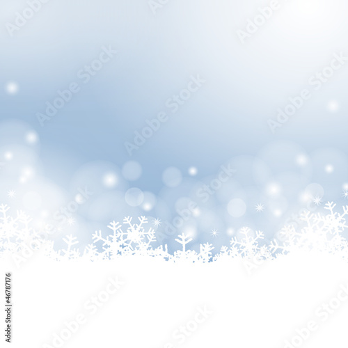 blue winter background - snowflakes and lights
