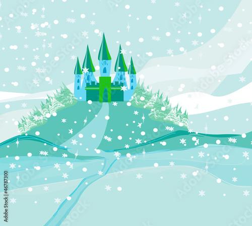 Foto op Aluminium Kasteel Winter landscape with castle.