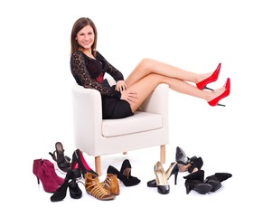 Woman with her many shoes