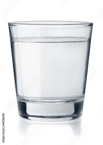 Glass of clear fresh water isolated on white