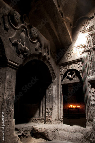 Jhamatun or first rock-cut chamber of Geghard monastery, Armenia