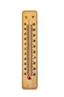 Wooden thermometer isolated on whire