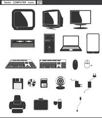 Vector set web icons. retro monitor and retro computer