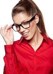 Business woman in glasses reflects, isolated on white background
