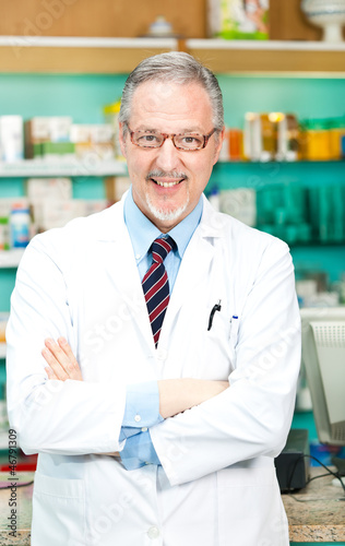 Portrait of a chemist in his store