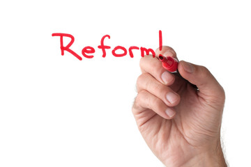 Reform - hand writing on white board
