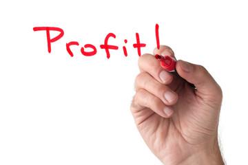 Profit - hand writing on white board