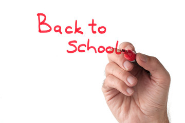 Back to school - hand writing on white board