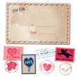 Vintage Love Valentine Postcard and Stamps - for design