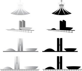 Arquitetura da Catedral e Congresso Nacional de Brasilia