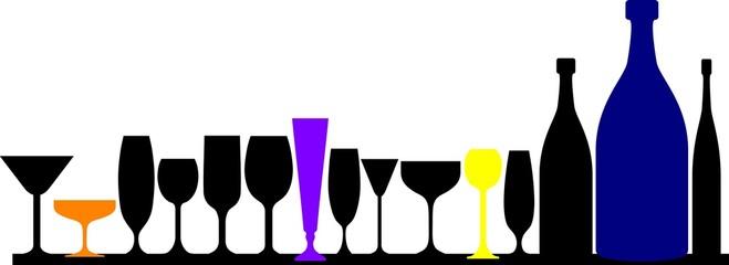 verres et bouteilles