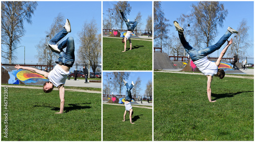 Break-dancer showing his skills. Collage of four photos.
