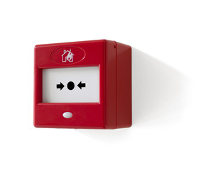 Modern fire alarm trigger button isolated on white