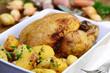 Brathähnchen mit Kartoffeln