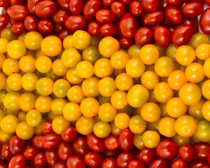 Spanish flag formed of cherry tomatoes