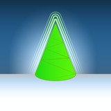 conical shape christmas green tree flare vector template