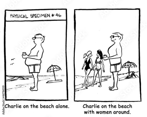 Charlie on the beach with women around