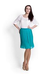 Beautifull woman in blue skirt