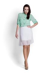 Beautifull woman in white skirt