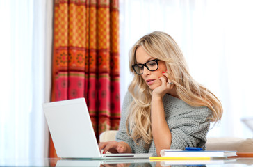 attractive adult woman with laptop
