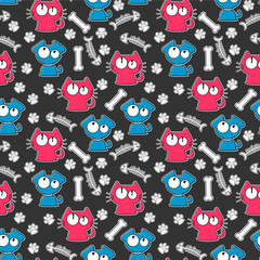 Seamless pattern with funny cats and dogs © paw