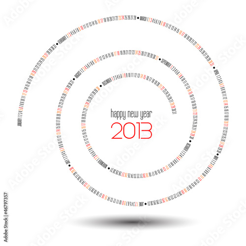 2013 calendar (vector swirl illustration)