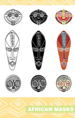 African masks part 3, vector
