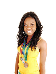 Girl with sport medals.