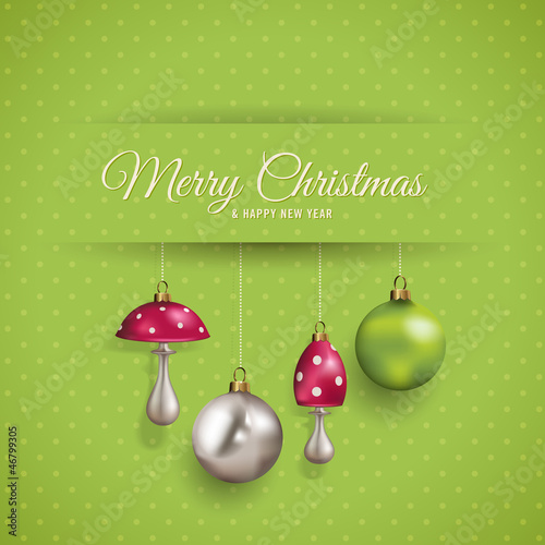 cute christmas card with polka dots and ornaments