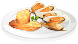 Mussels and garlic bread