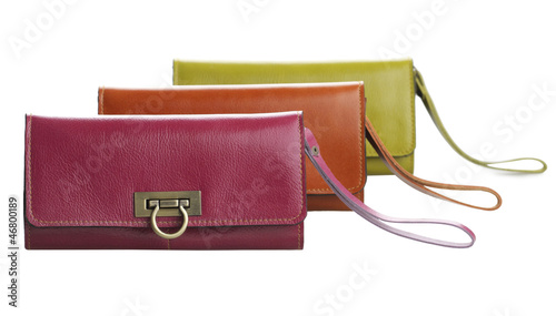 Colorful lady leather wallet bags beautiful and isolated on whit