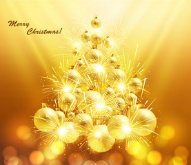 New Year's  merry christmas tree ball vector background