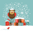 cute owl, Christmas greeting card