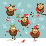 Fototapety set of funny owls