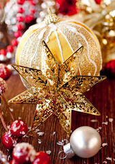 Golden Christmas star and decorations