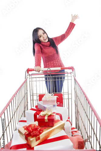 Happy shopper push trolley for winter presents